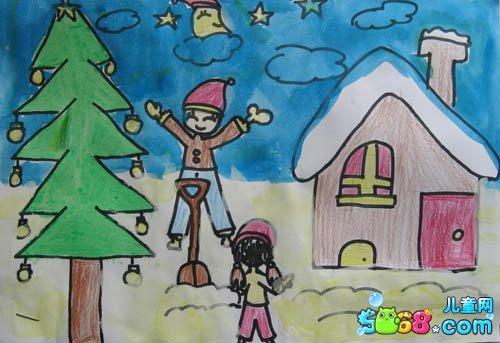 儿童画画学习_儿童画冬天的景色-冰雪世界