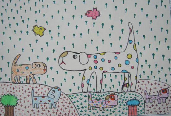 可爱的小花狗作文|儿童画,可爱小花狗